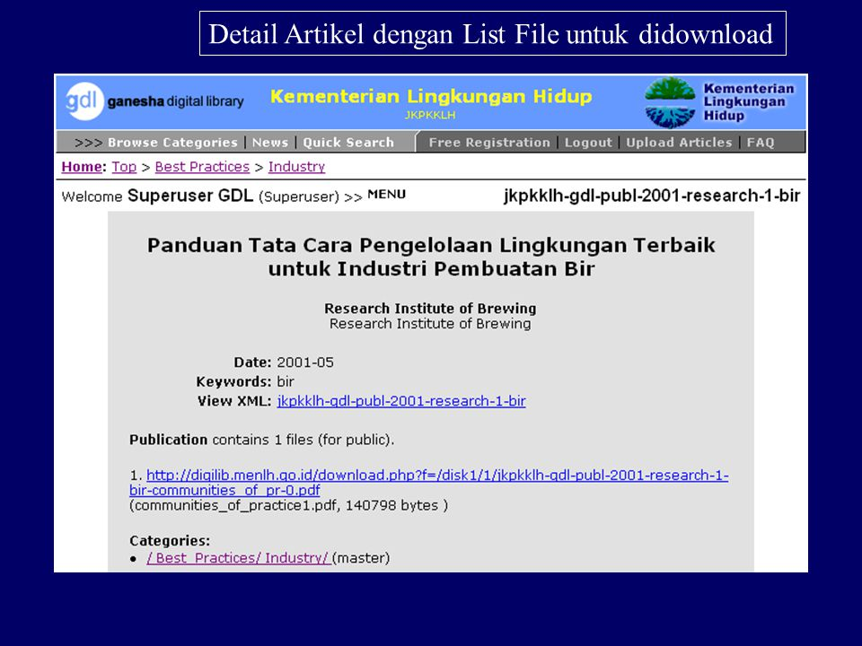 List artikel dalam Digital Library KLH