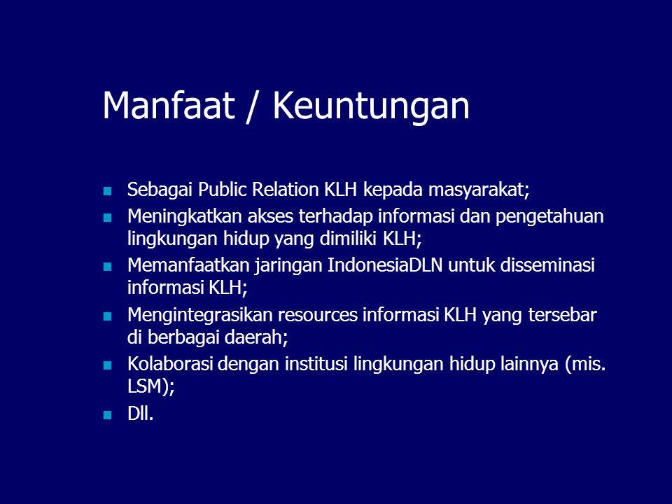 Pemaketan Informasi Informasi dalam DL KLH dapat dipaketkan dan disebarluaskan melalui: CD-ROM digital library KLH Pengemasan ulang menggunakan aplikasi lain (multimedia, presentasi, dll)