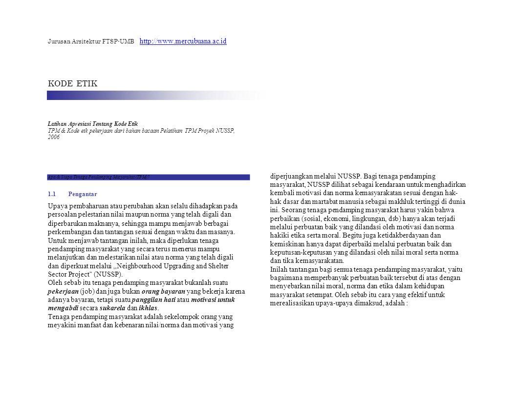 Jurusan Arsitektur FTSP-UMB http://www.mercubuana.ac.id KODE ETIK Latihan Apresiasi Tentang Kode Etik TPM & Kode etk pekerjaan dari bahan bacaan Pelat