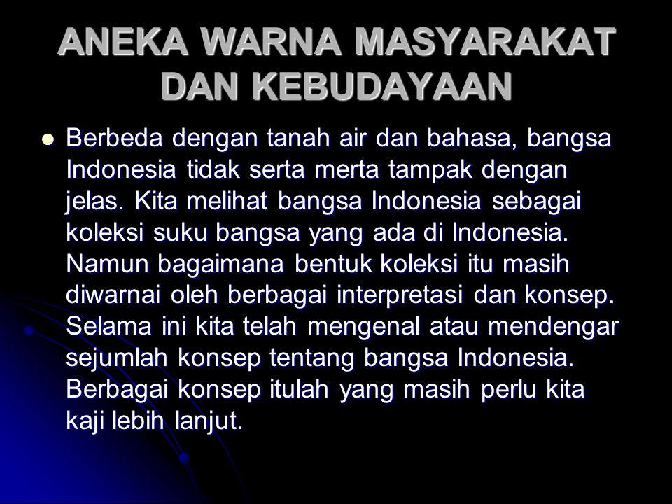 ANEKA WARNA MASYARAKAT DAN KEBUDAYAAN Berbeda dengan tanah air dan bahasa, bangsa Indonesia tidak serta merta tampak dengan jelas.