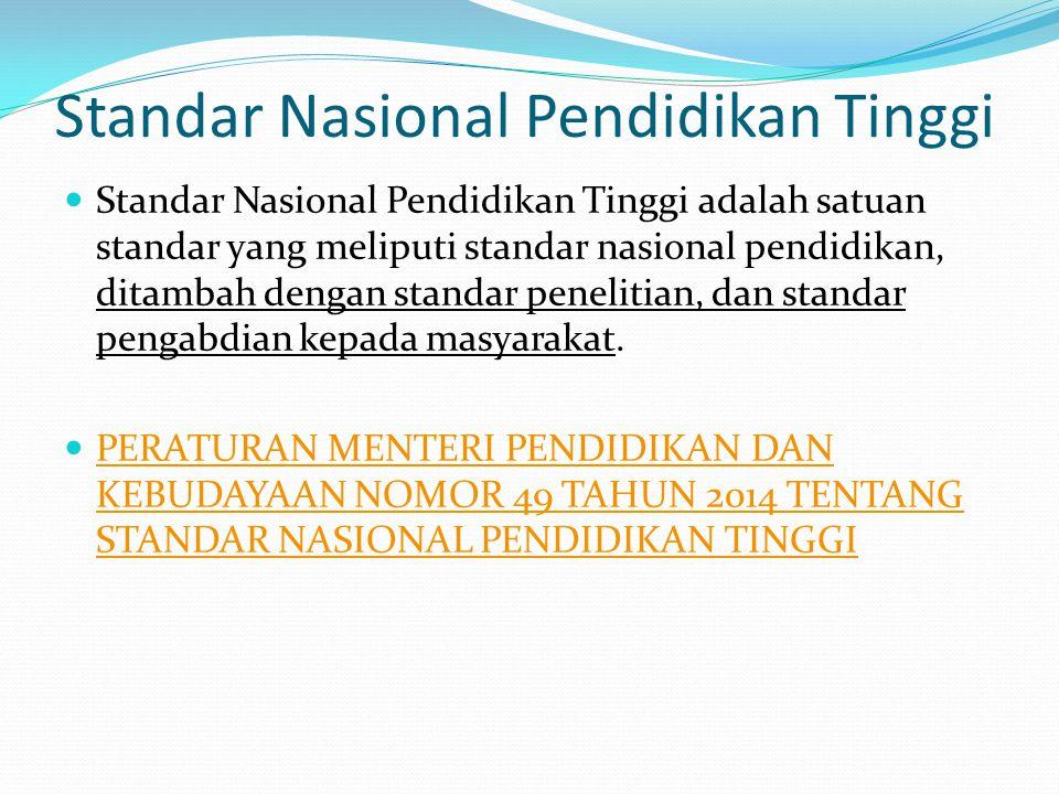 Standar Nasional Pendidikan Tinggi Standar Nasional Pendidikan Tinggi adalah satuan standar yang meliputi standar nasional pendidikan, ditambah dengan standar penelitian, dan standar pengabdian kepada masyarakat.