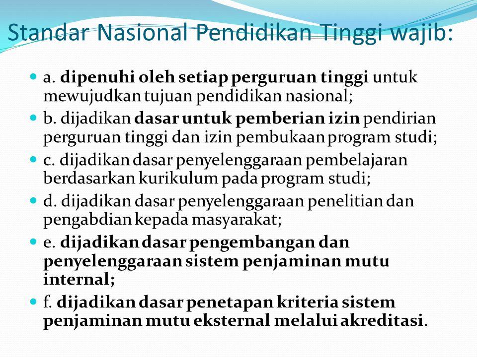 Standar Nasional Pendidikan Tinggi wajib: a. dipenuhi oleh setiap perguruan tinggi untuk mewujudkan tujuan pendidikan nasional; b. dijadikan dasar unt
