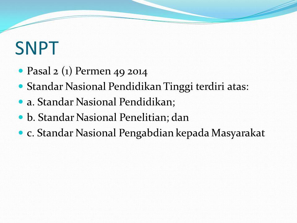 SNPT Pasal 2 (1) Permen 49 2014 Standar Nasional Pendidikan Tinggi terdiri atas: a.