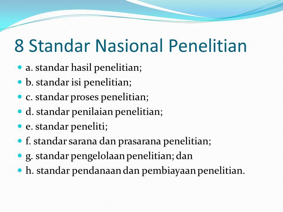 8 Standar Nasional Penelitian a. standar hasil penelitian; b.