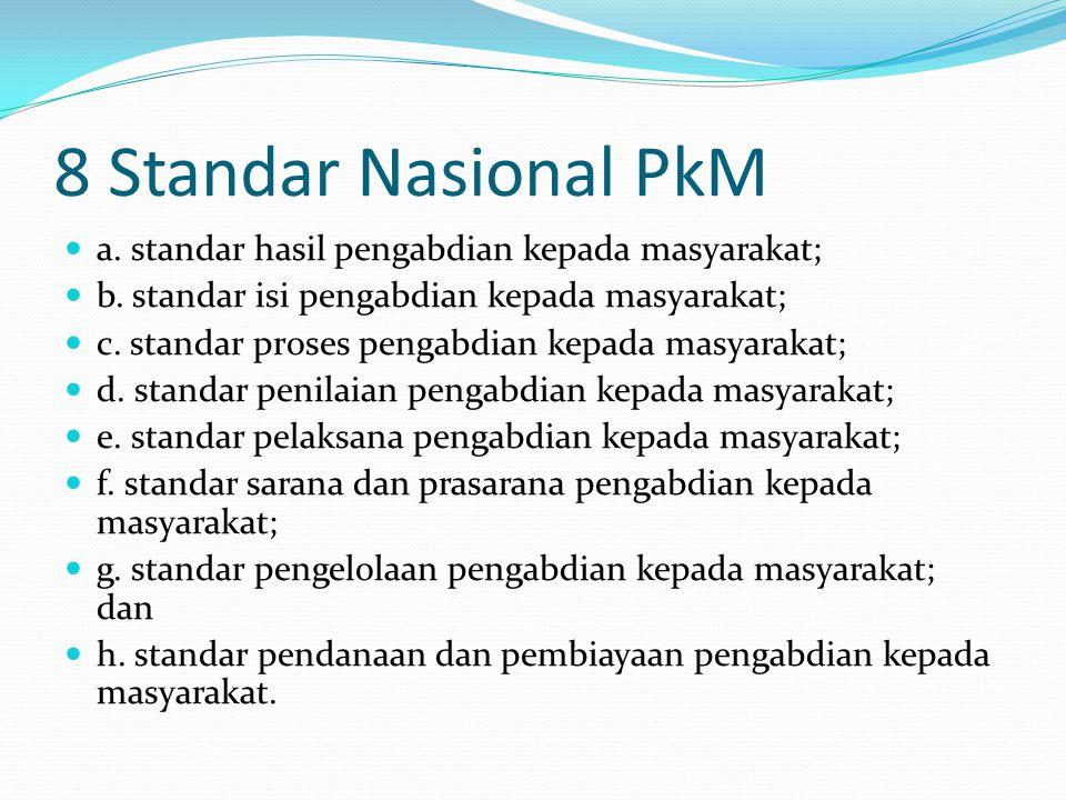 8 Standar Nasional PkM a. standar hasil pengabdian kepada masyarakat; b.