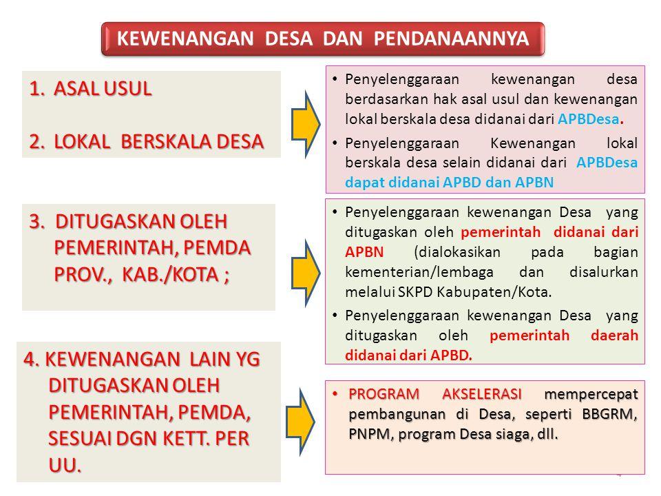 Penyelenggaraan kewenangan desa berdasarkan hak asal usul dan kewenangan lokal berskala desa didanai dari APBDesa. Penyelenggaraan Kewenangan lokal be