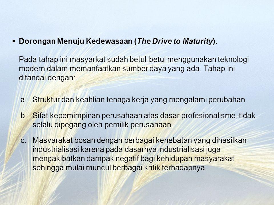  Dorongan Menuju Kedewasaan (The Drive to Maturity). Pada tahap ini masyarkat sudah betul-betul menggunakan teknologi modern dalam memanfaatkan sumbe