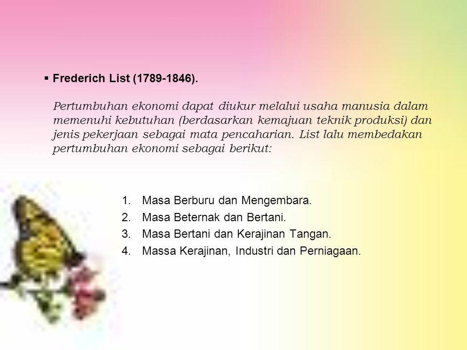  Frederich List (1789-1846). Pertumbuhan ekonomi dapat diukur melalui usaha manusia dalam memenuhi kebutuhan (berdasarkan kemajuan teknik produksi) d