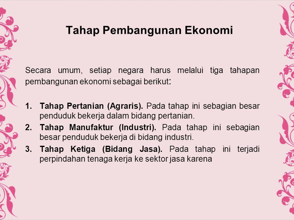Tahap Pembangunan Ekonomi Secara umum, setiap negara harus melalui tiga tahapan pembangunan ekonomi sebagai berikut : 1.Tahap Pertanian (Agraris). Pad