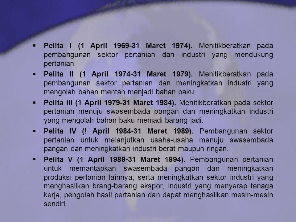  Pelita I (1 April 1969-31 Maret 1974). Menitikberatkan pada pembangunan sektor pertanian dan industri yang mendukung pertanian.  Pelita II (1 April