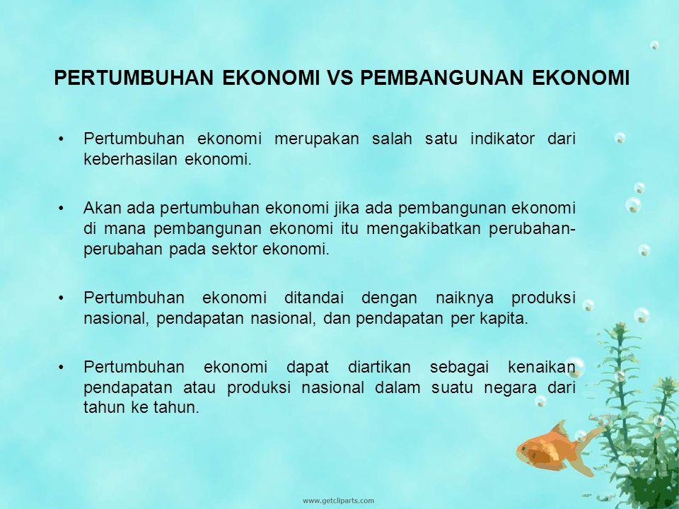 PERTUMBUHAN EKONOMI VS PEMBANGUNAN EKONOMI Pertumbuhan ekonomi merupakan salah satu indikator dari keberhasilan ekonomi. Akan ada pertumbuhan ekonomi