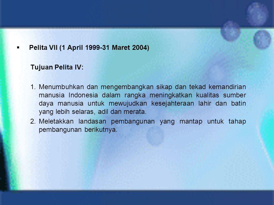  Pelita VII (1 April 1999-31 Maret 2004) Tujuan Pelita IV: 1.Menumbuhkan dan mengembangkan sikap dan tekad kemandirian manusia Indonesia dalam rangka