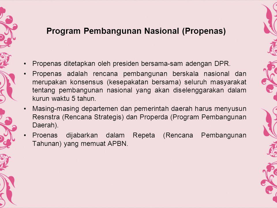 Program Pembangunan Nasional (Propenas) Propenas ditetapkan oleh presiden bersama-sam adengan DPR. Propenas adalah rencana pembangunan berskala nasion