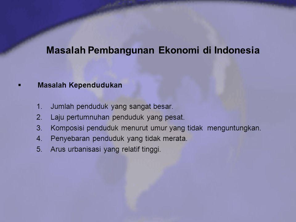 Masalah Pembangunan Ekonomi di Indonesia  Masalah Kependudukan 1.Jumlah penduduk yang sangat besar. 2.Laju pertumnuhan penduduk yang pesat. 3.Komposi