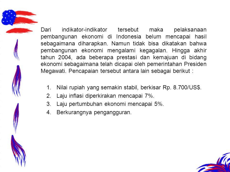 Dari indikator-indikator tersebut maka pelaksanaan pembangunan ekonomi di Indonesia belum mencapai hasil sebagaimana diharapkan. Namun tidak bisa dika