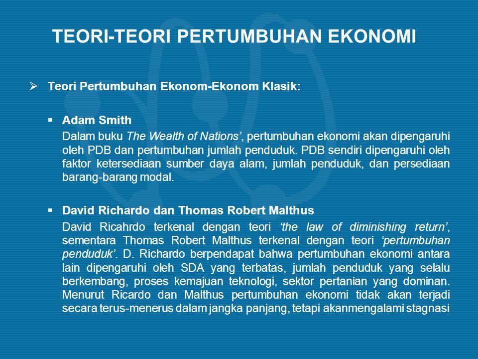TEORI-TEORI PERTUMBUHAN EKONOMI  Teori Pertumbuhan Ekonom-Ekonom Klasik:  Adam Smith Dalam buku The Wealth of Nations', pertumbuhan ekonomi akan dip