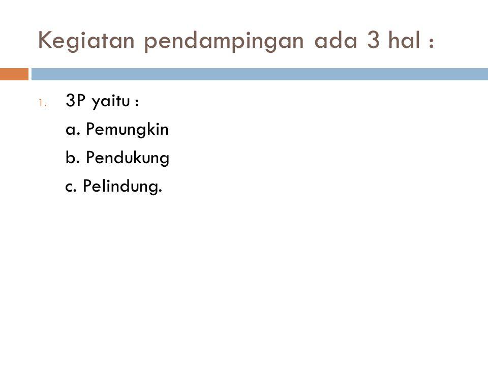 Kegiatan pendampingan ada 3 hal : 1. 3P yaitu : a. Pemungkin b. Pendukung c. Pelindung.