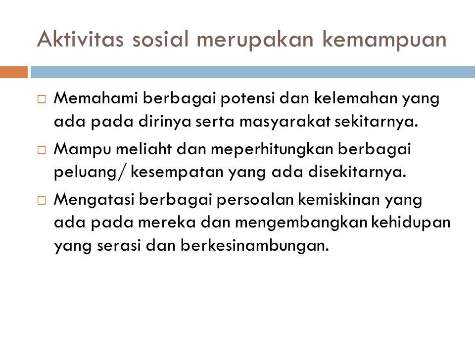Aktivitas sosial merupakan kemampuan  Memahami berbagai potensi dan kelemahan yang ada pada dirinya serta masyarakat sekitarnya.  Mampu meliaht dan