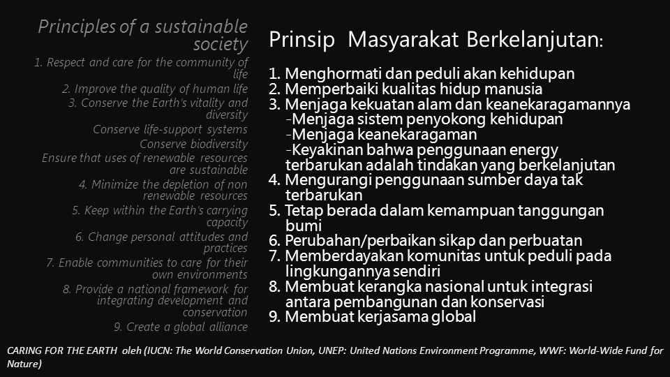 Principles of a sustainable society 1.Respect and care for the community of life 2.