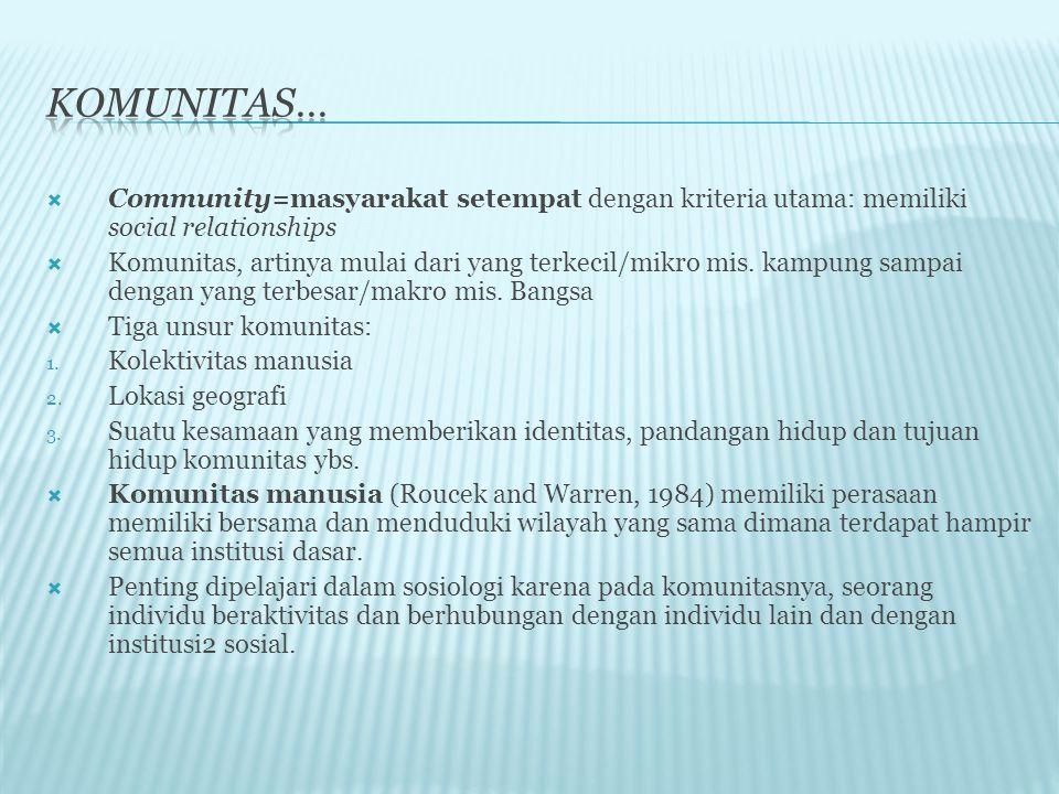  Community=masyarakat setempat dengan kriteria utama: memiliki social relationships  Komunitas, artinya mulai dari yang terkecil/mikro mis.