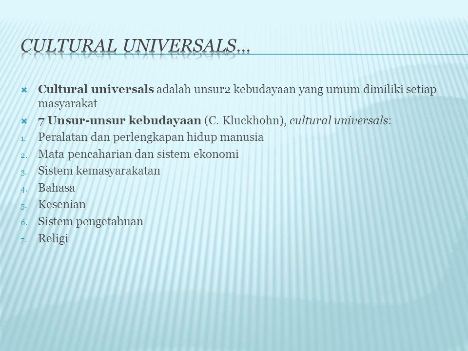  Cultural universals adalah unsur2 kebudayaan yang umum dimiliki setiap masyarakat  7 Unsur-unsur kebudayaan (C. Kluckhohn), cultural universals: 1.