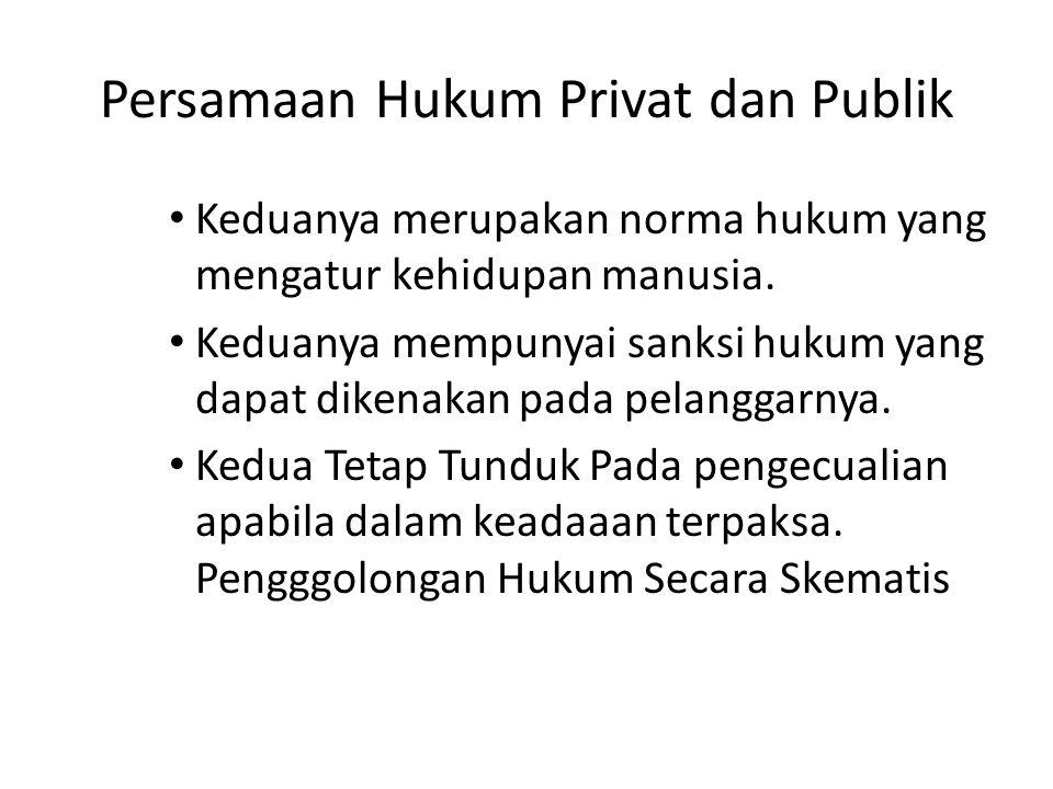 Persamaan Hukum Privat dan Publik Keduanya merupakan norma hukum yang mengatur kehidupan manusia.