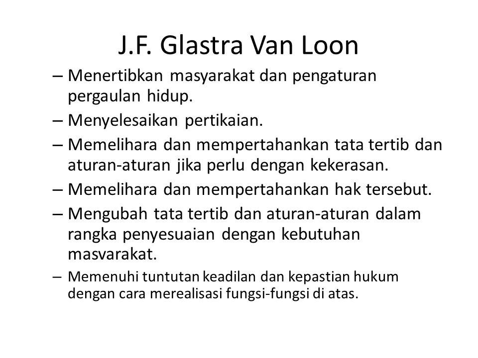 J.F.Glastra Van Loon – Menertibkan masyarakat dan pengaturan pergaulan hidup.