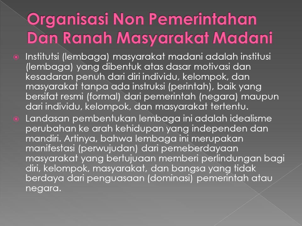  Institutsi (lembaga) masyarakat madani adalah institusi (lembaga) yang dibentuk atas dasar motivasi dan kesadaran penuh dari diri individu, kelompok