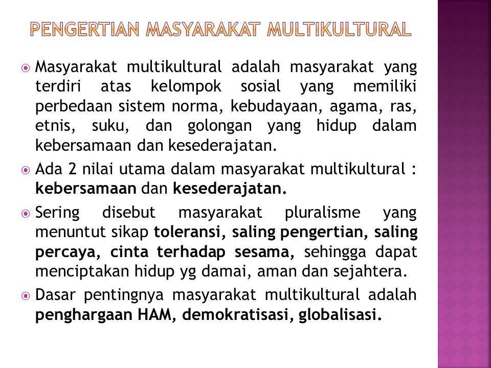  Masyarakat multikultural adalah masyarakat yang terdiri atas kelompok sosial yang memiliki perbedaan sistem norma, kebudayaan, agama, ras, etnis, suku, dan golongan yang hidup dalam kebersamaan dan kesederajatan.