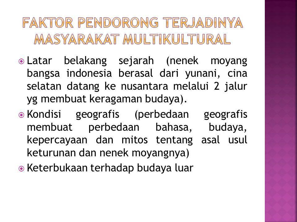  Latar belakang sejarah (nenek moyang bangsa indonesia berasal dari yunani, cina selatan datang ke nusantara melalui 2 jalur yg membuat keragaman budaya).
