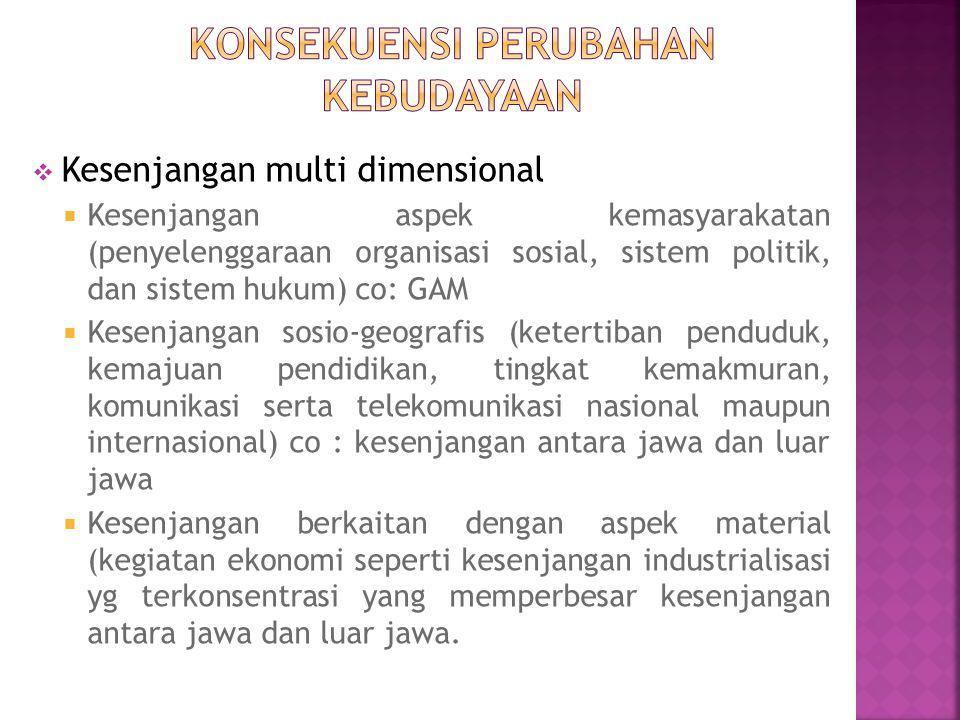  Kesenjangan multi dimensional  Kesenjangan aspek kemasyarakatan (penyelenggaraan organisasi sosial, sistem politik, dan sistem hukum) co: GAM  Kesenjangan sosio-geografis (ketertiban penduduk, kemajuan pendidikan, tingkat kemakmuran, komunikasi serta telekomunikasi nasional maupun internasional) co : kesenjangan antara jawa dan luar jawa  Kesenjangan berkaitan dengan aspek material (kegiatan ekonomi seperti kesenjangan industrialisasi yg terkonsentrasi yang memperbesar kesenjangan antara jawa dan luar jawa.