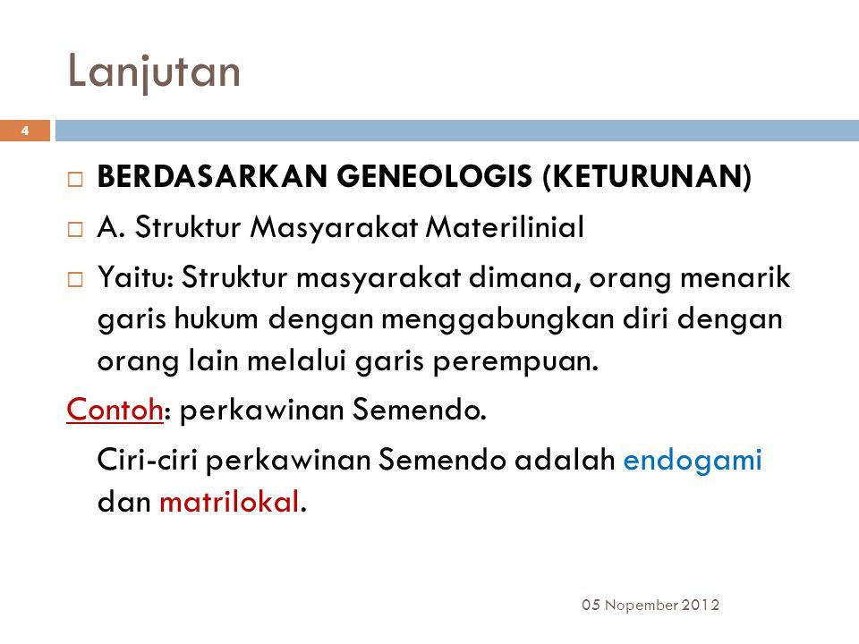 Lanjutan  BERDASARKAN GENEOLOGIS (KETURUNAN)  A.