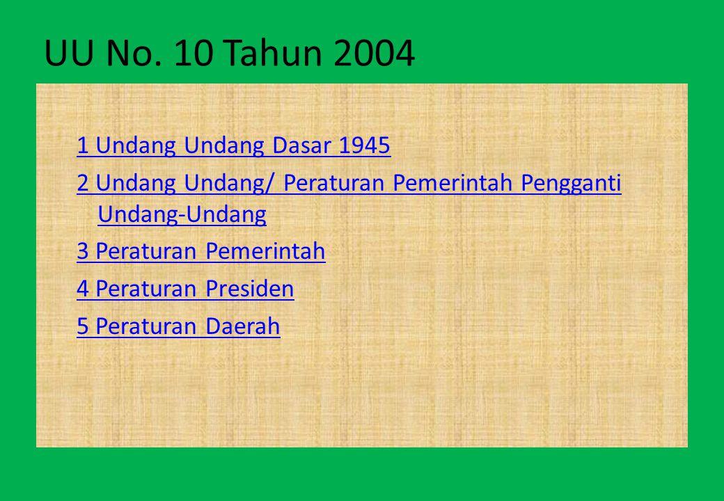 UU No. 10 Tahun 2004 1 Undang Undang Dasar 1945 2 Undang Undang/ Peraturan Pemerintah Pengganti Undang-Undang 3 Peraturan Pemerintah 4 Peraturan Presi