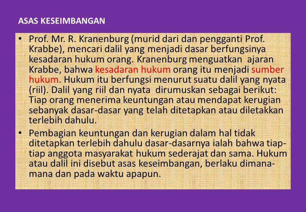 ASAS KESEIMBANGAN Prof. Mr. R. Kranenburg (murid dari dan pengganti Prof. Krabbe), mencari dalil yang menjadi dasar berfungsinya kesadaran hukum orang