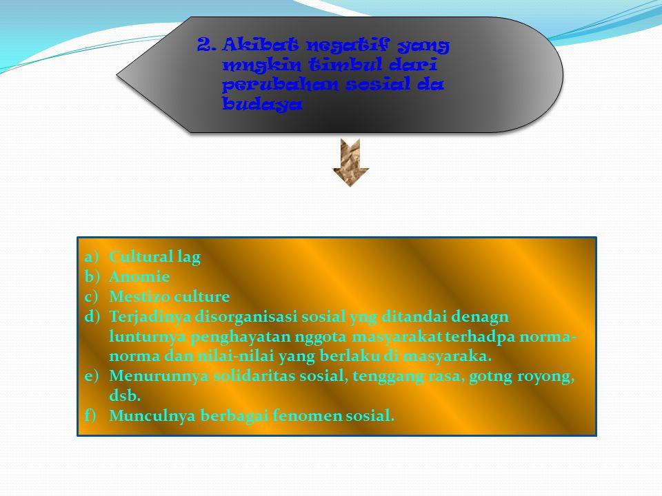 2.Akibat negatif yang mngkin timbul dari perubahan sosial da budaya a)Cultural lag b)Anomie c)Mestizo culture d)Terjadinya disorganisasi sosial yng di
