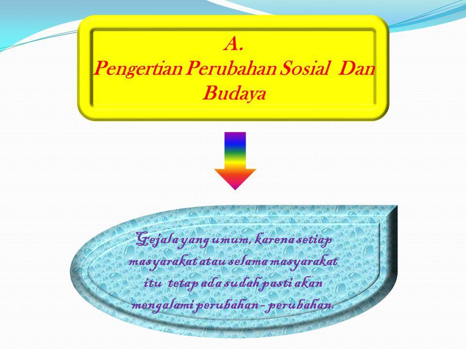 A. Pengertian Perubahan Sosial Dan Budaya Gejala yang umum, karena setiap masyarakat atau selama masyarakat itu tetap ada sudah pasti akan mengalami p