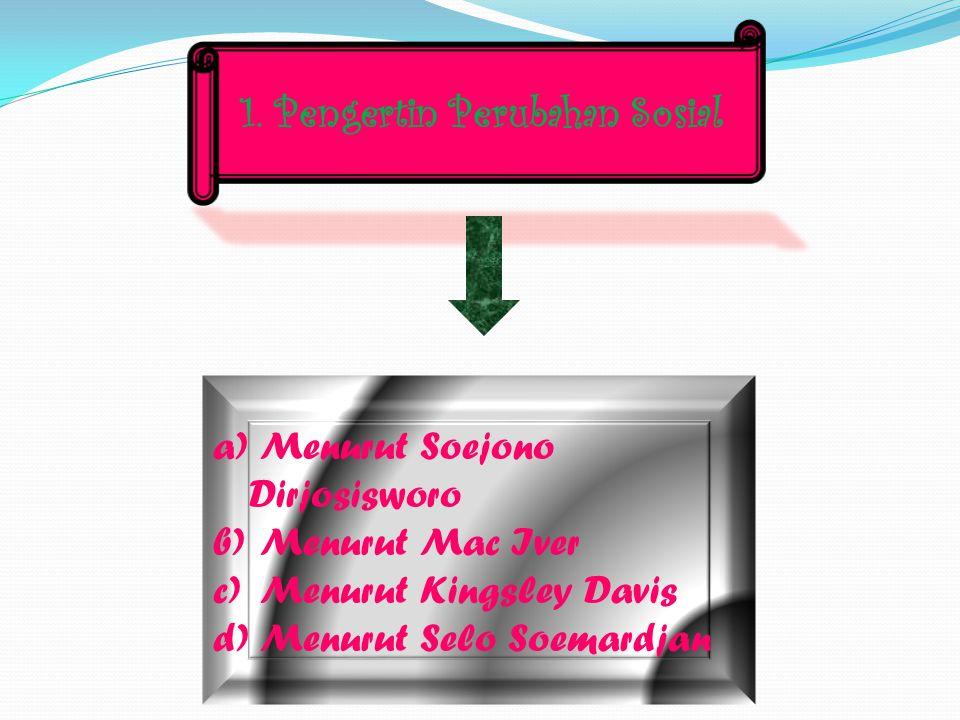 1. Pengertin Perubahan Sosial a) Menurut Soejono Dirjosisworo b) Menurut Mac Iver c) Menurut Kingsley Davis d) Menurut Selo Soemardjan