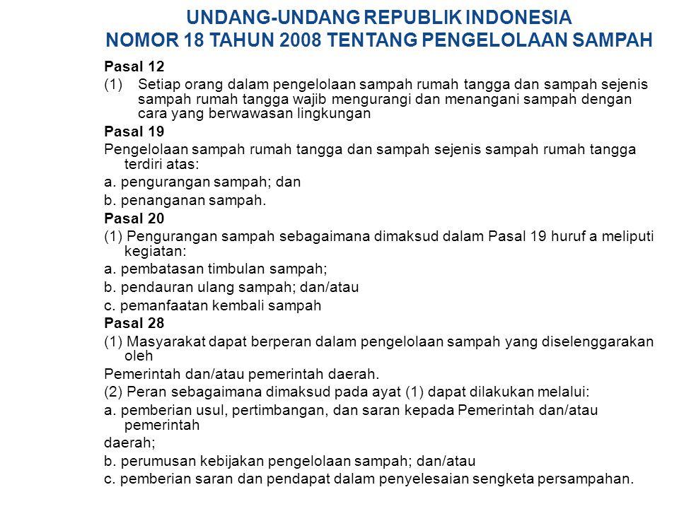 UNDANG-UNDANG REPUBLIK INDONESIA NOMOR 18 TAHUN 2008 TENTANG PENGELOLAAN SAMPAH Pasal 12  Setiap orang dalam pengelolaan sampah rumah tangga dan sa