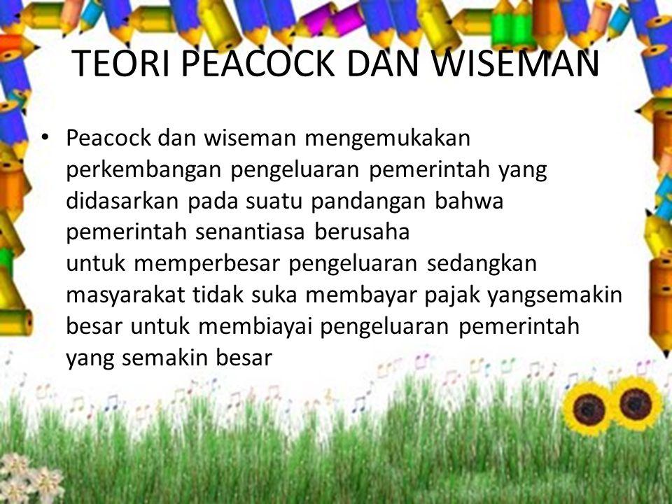 TEORI PEACOCK DAN WISEMAN Peacock dan wiseman mengemukakan perkembangan pengeluaran pemerintah yang didasarkan pada suatu pandangan bahwa pemerintah s