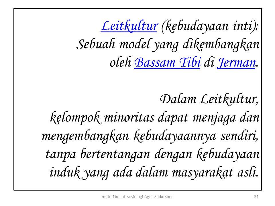 LeitkulturLeitkultur (kebudayaan inti): Sebuah model yang dikembangkan oleh Bassam Tibi di Jerman. Dalam Leitkultur, kelompok minoritas dapat menjaga