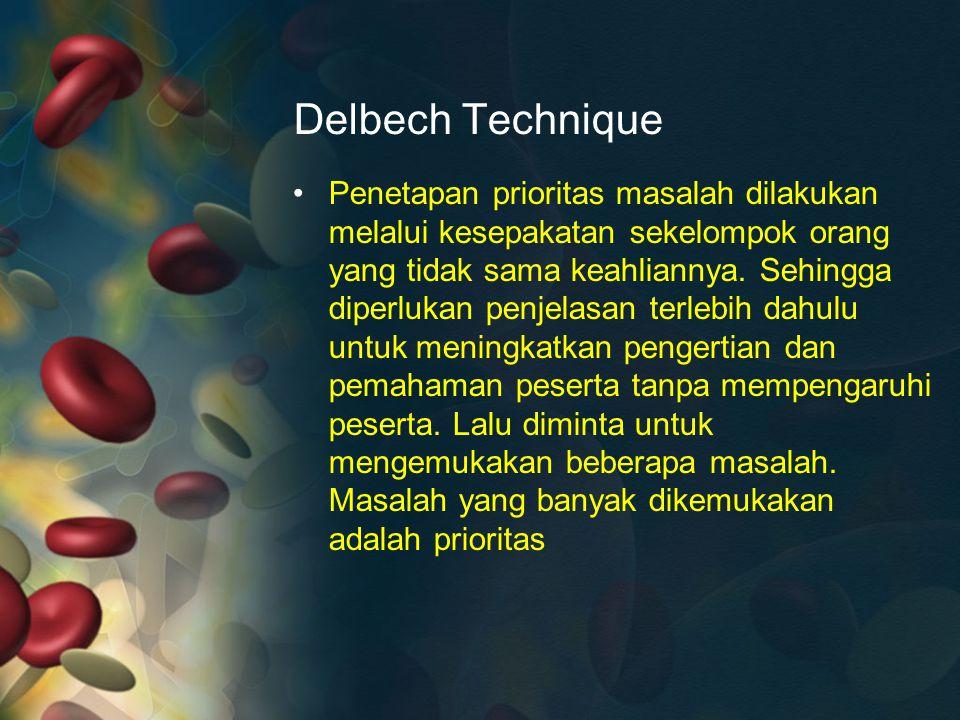 Delbech Technique Penetapan prioritas masalah dilakukan melalui kesepakatan sekelompok orang yang tidak sama keahliannya. Sehingga diperlukan penjelas