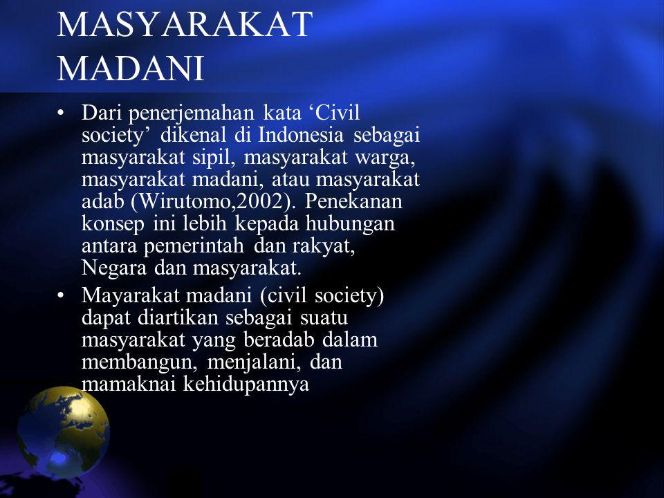 MASYARAKAT MADANI Dari penerjemahan kata 'Civil society' dikenal di Indonesia sebagai masyarakat sipil, masyarakat warga, masyarakat madani, atau masy