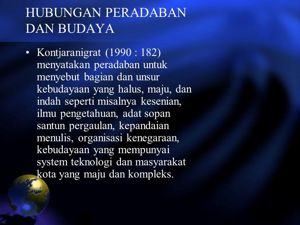 HUBUNGAN PERADABAN DAN BUDAYA Kontjaranigrat (1990 : 182) menyatakan peradaban untuk menyebut bagian dan unsur kebudayaan yang halus, maju, dan indah