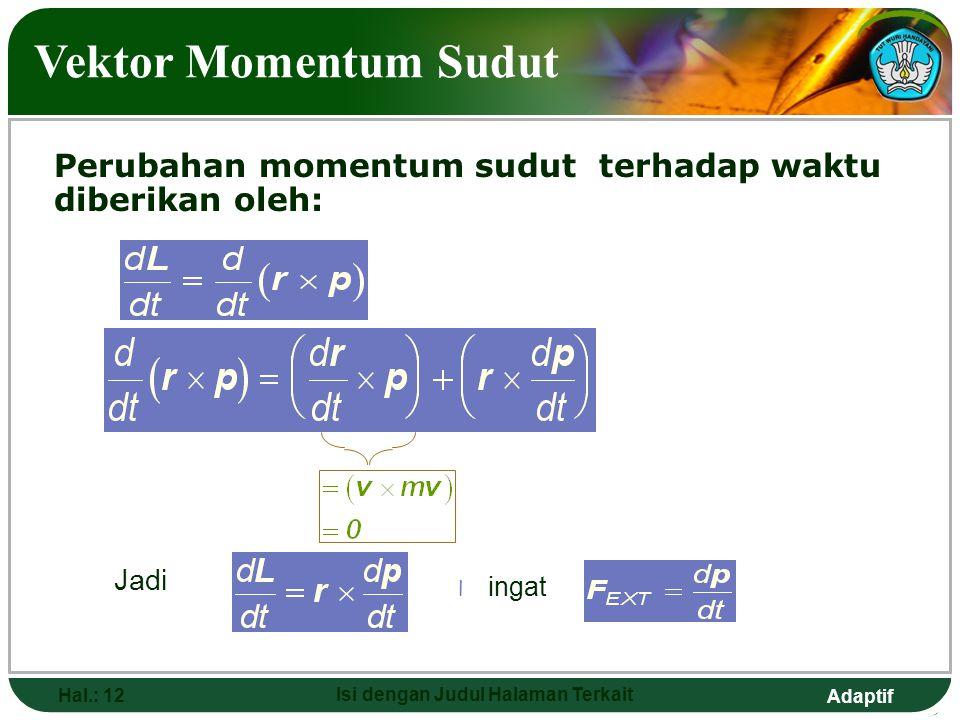 Adaptif Hal.: 12 Isi dengan Judul Halaman Terkait Vektor Momentum Sudut Perubahan momentum sudut terhadap waktu diberikan oleh: Jadi l ingat