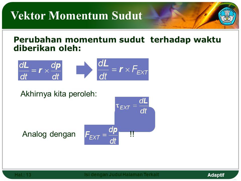 Adaptif Hal.: 13 Isi dengan Judul Halaman Terkait Vektor Momentum Sudut Perubahan momentum sudut terhadap waktu diberikan oleh: Akhirnya kita peroleh: