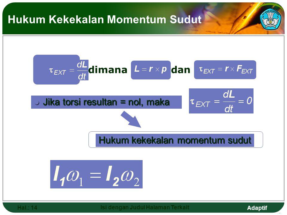 Adaptif Hal.: 14 Isi dengan Judul Halaman Terkait Hukum Kekekalan Momentum Sudut l Jika torsi resultan = nol, maka Hukum kekekalan momentum sudut dima