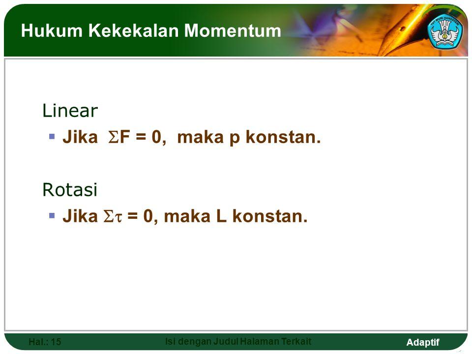 Adaptif Hal.: 15 Isi dengan Judul Halaman Terkait Hukum Kekekalan Momentum Linear  Jika  F = 0, maka p konstan. Rotasi  Jika  = 0, maka L konstan