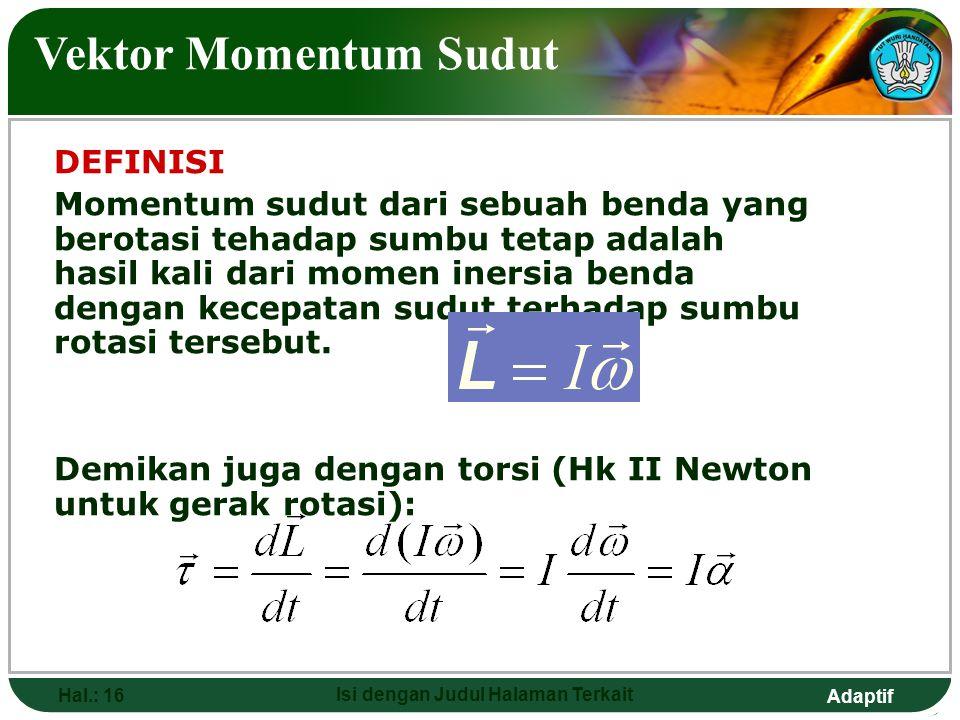 Adaptif Hal.: 16 Isi dengan Judul Halaman Terkait Vektor Momentum Sudut DEFINISI Momentum sudut dari sebuah benda yang berotasi tehadap sumbu tetap ad
