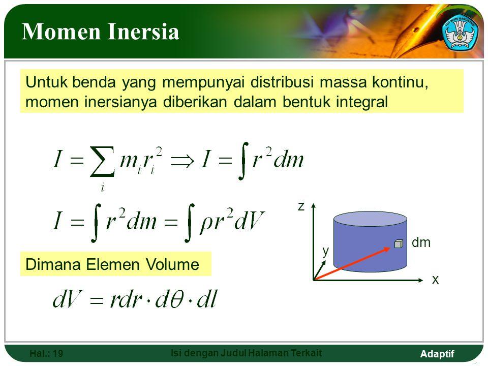 Adaptif Hal.: 19 Isi dengan Judul Halaman Terkait Momen Inersia Untuk benda yang mempunyai distribusi massa kontinu, momen inersianya diberikan dalam