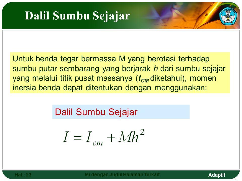 Adaptif Hal.: 23 Isi dengan Judul Halaman Terkait Dalil Sumbu Sejajar Untuk benda tegar bermassa M yang berotasi terhadap sumbu putar sembarang yang b